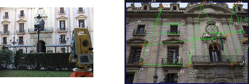 Radiación de los puntos mediante estación total              Asignación de coordenadas al modelo 3D